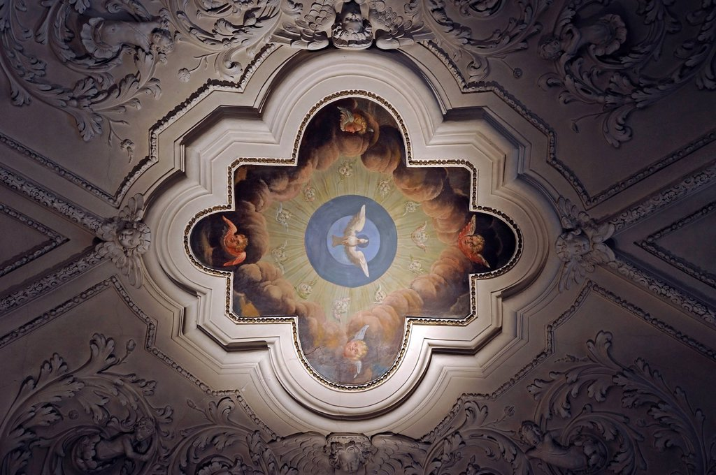 Ceiling painting, Strahov Monastery, Hrad&269,any, Prague Castle District, Prague, Czech Republic : Stock Photo