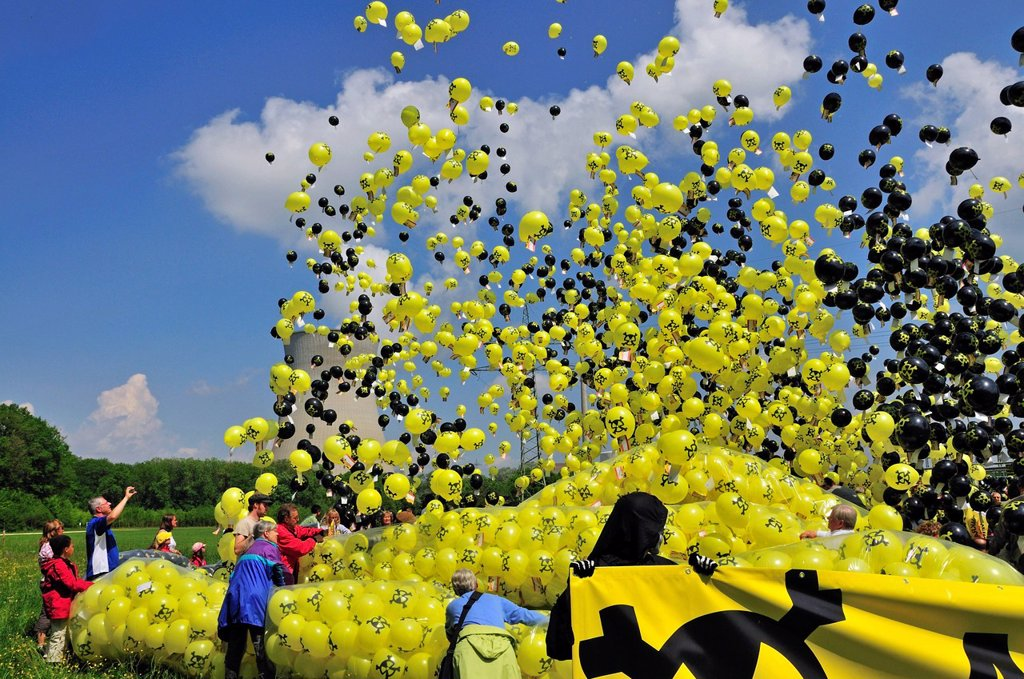 Anti nuclear power demonstration with balloons at the Gundremmingen nuclear power plant, the most powerful German nuclear power plant, Gundremmingen in Guenzburg, Bavaria, Germany, Europe : Stock Photo