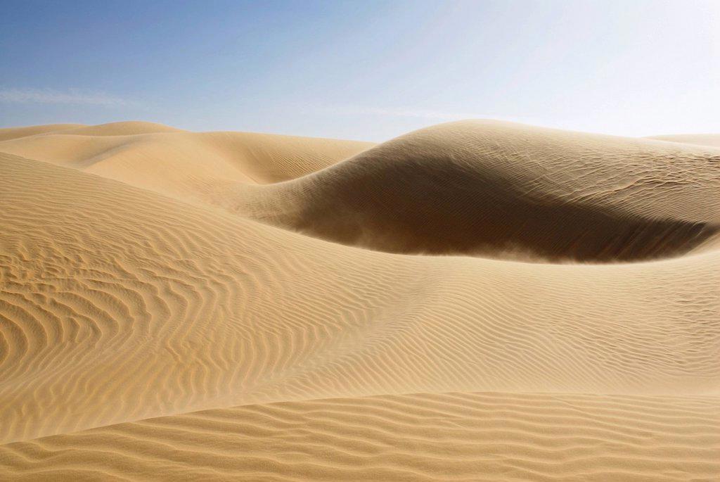 Stock Photo: 1848-667342 Sand dunes between Dakhla Oasis and Kharga Oasis, Western Desert, Egypt, Africa