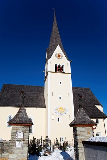 Stock Photo: 1848-66743 Church and cemetery in Wagrein, homeland of the poet Waggerl, the song Silent Night was composed here, Pongau, Salzburg, Austria, Europe