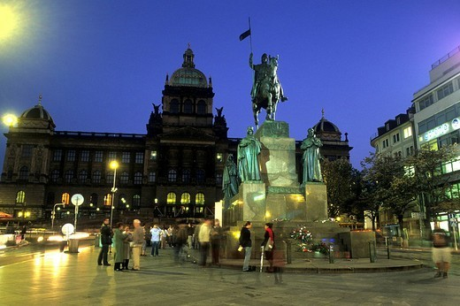 Stock Photo: 1848-66777 Equestrian statue of Wenceslaus I, with the national museum, Wenceslas Square, Prague, Czechia, Europe