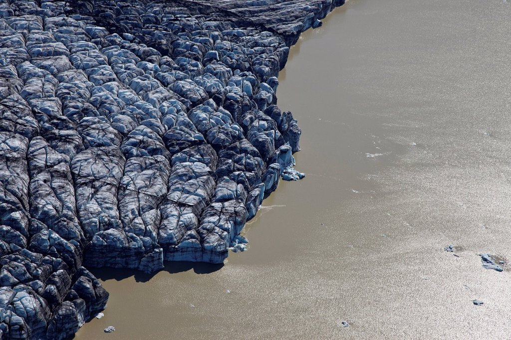 Stock Photo: 1848-667791 Aerial view, glacial lake with calved ice from the Vatnajoekull glacier, Iceland, Europe