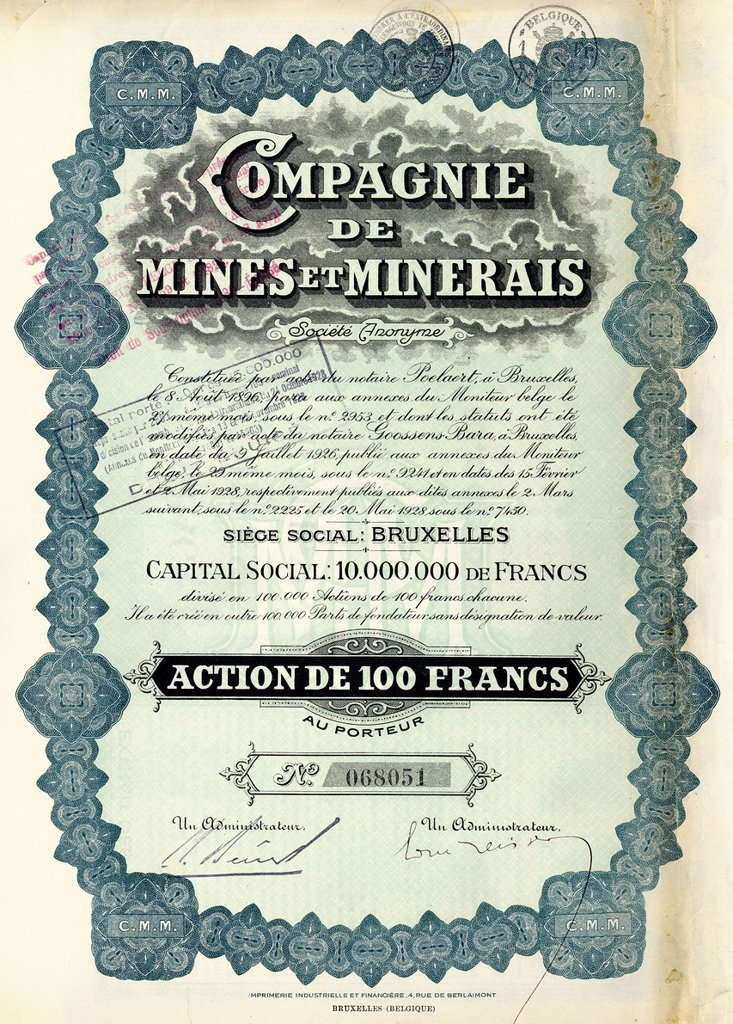 Stock Photo: 1848-667952 Historic stock certificate, share, mining, Compagnie de Mines et Minerais, 1930, 100 Belgian francs, Brussels, Belgium, Europe