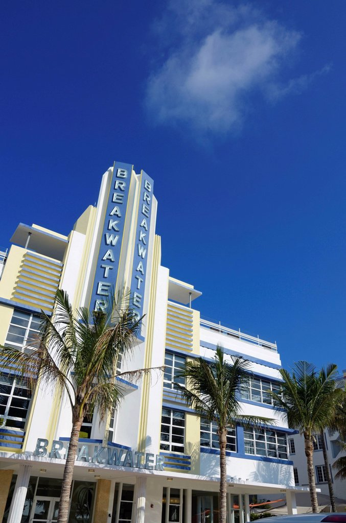 Breakwater Hotel, Art Deco architecture, Ocean Drive, South Beach, Miami, Florida, USA : Stock Photo