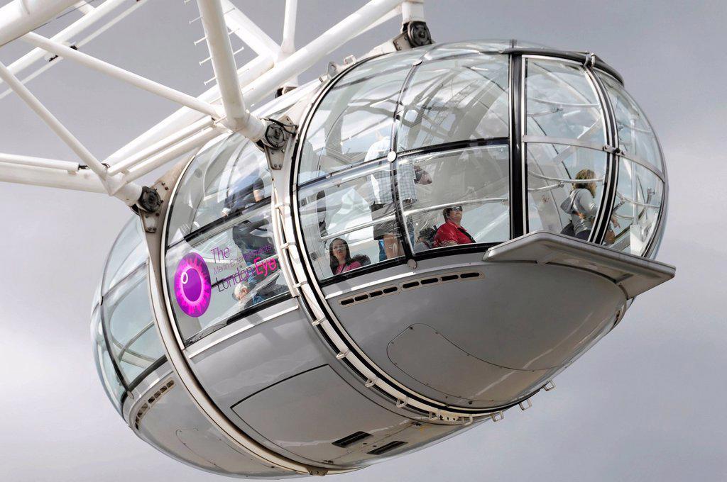 Cabin of the Millennium Wheel or London Eye ferris Wheel, London, England, United Kingdom, Europe : Stock Photo
