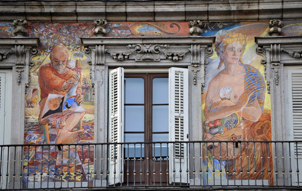 Stock Photo: 1848-668072 Mural paintings on the Casa de la Panaderia building, bakers´ house, Plaza Mayor square, Madrid, Spain, Europe, PublicGround