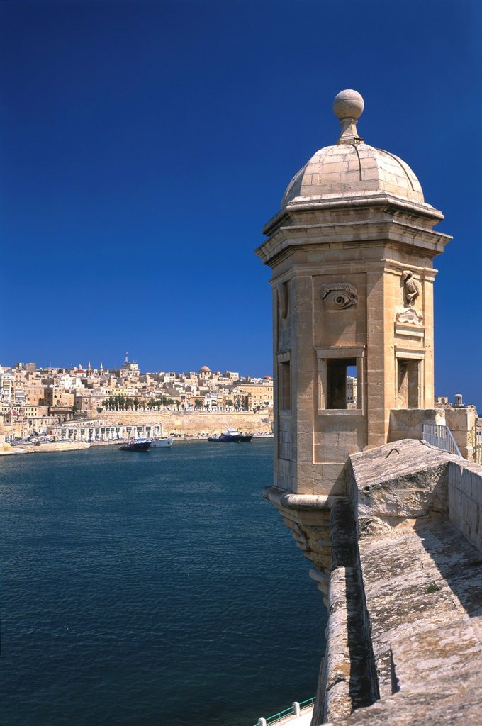 Observation tower, Gardjola, Vedette, Senglea, overlooking La Valletta, Malta, Europe : Stock Photo