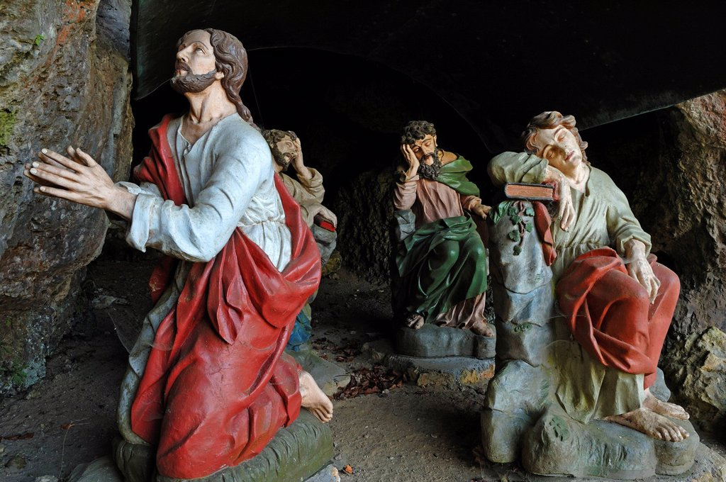 Saint figures in the Oelberggrotte or Mount of Olives grotto, Goessweinstein, Upper Franconia, Bavaria, Germany, Europe : Stock Photo
