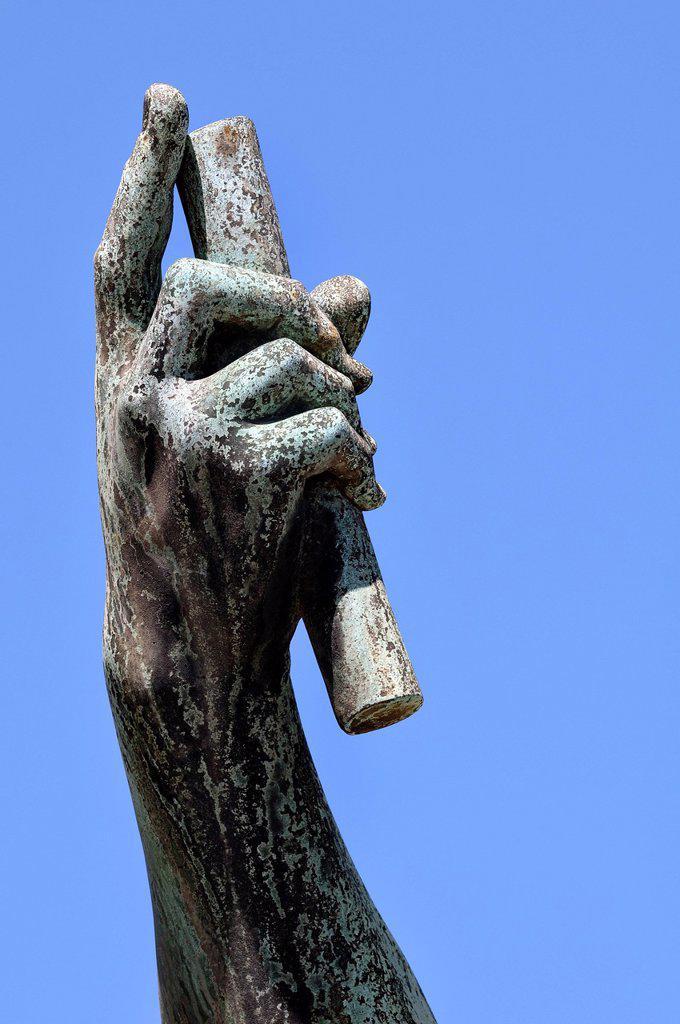 Stock Photo: 1848-668574 Emperor Julius Caesar, bronze statue, hand holding baton, Via dei Fori Imperiali, Rome, Lazio, Italy, Rome