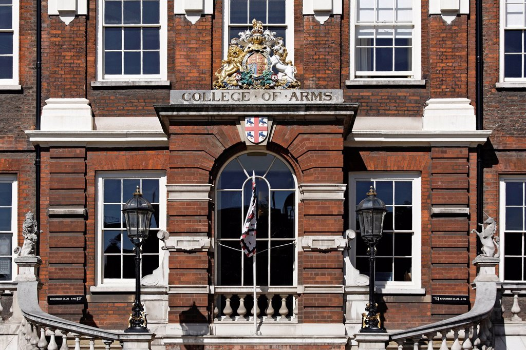 Stock Photo: 1848-668827 Entrance to the College of Arms, historic Institute of Heraldry, London, England, United Kingdom, Europe