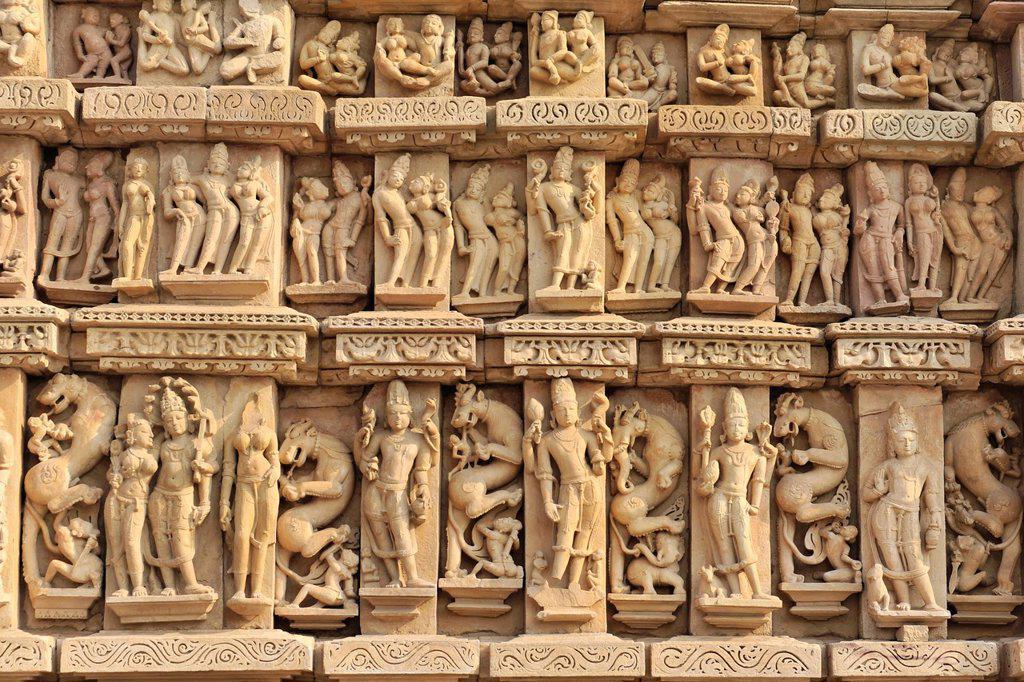Stock Photo: 1848-668838 Sculpture relief, Khajuraho Group of Monuments, Khajuraho, Unesco World Heritage Site, Madhya Pradesh, India, Asia