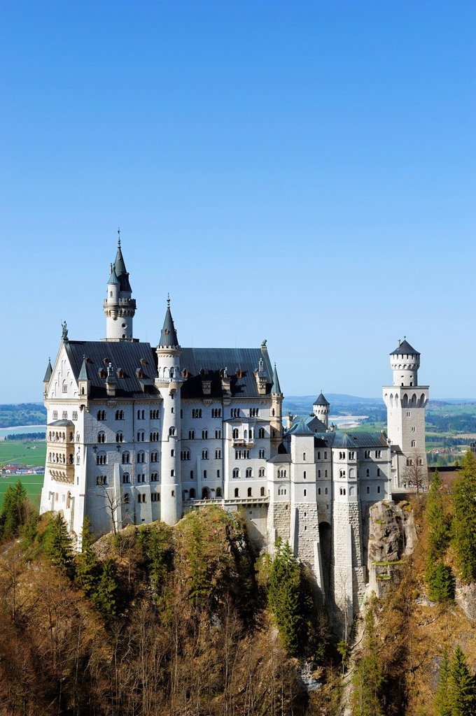 Stock Photo: 1848-668843 Schloss Neuschwanstein Castle, from Marienbruecke, Mary´s Bridge, East Allgaeu, Allgaeu, Swabia, Bavaria, Germany, Europe