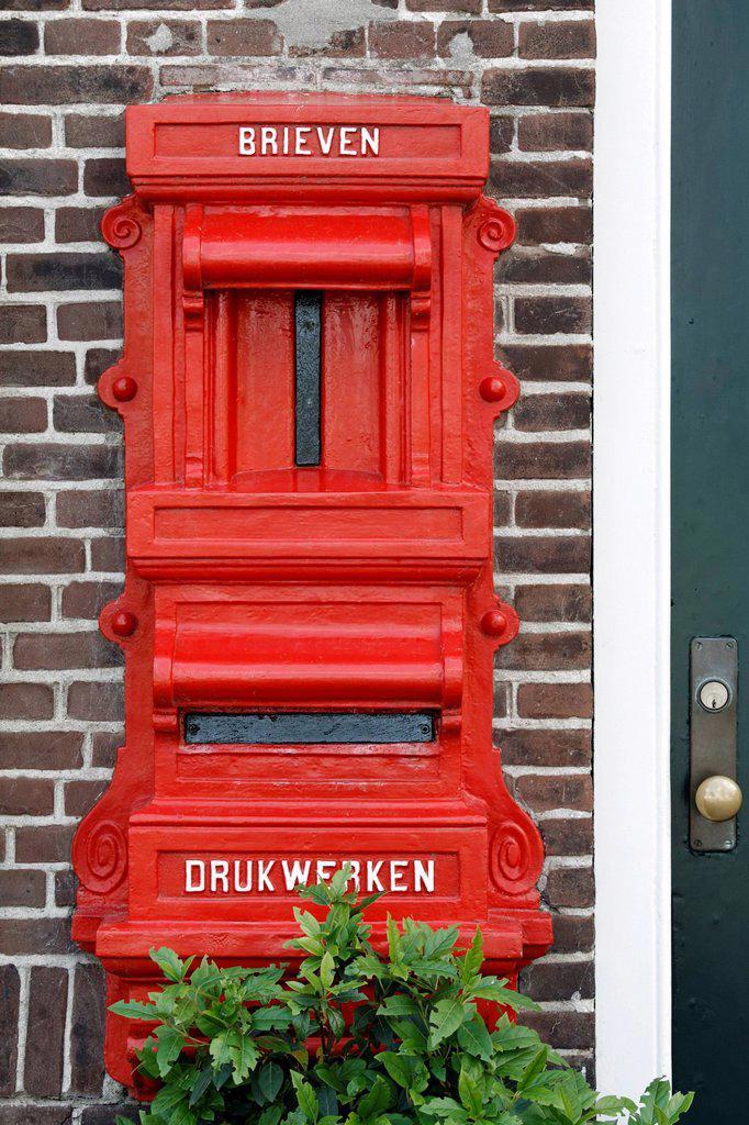 Historic letter box on a house in Middelburg, Walcheren, Zeeland, Netherlands, Europe : Stock Photo