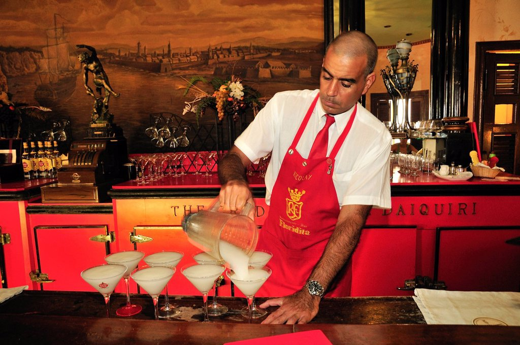 Bartender mixing Daiquiris, cocktails, Floridita Bar, Hemingway´s favorite bar in Old Havana, Habana Vieja, Havana, Cuba, Caribbean : Stock Photo