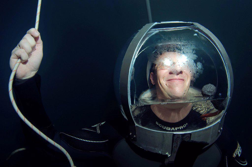 Stock Photo: 1848-669346 Diver wearing a glass helmet, Dolphinarium, Odessa, Ukraine, Europe