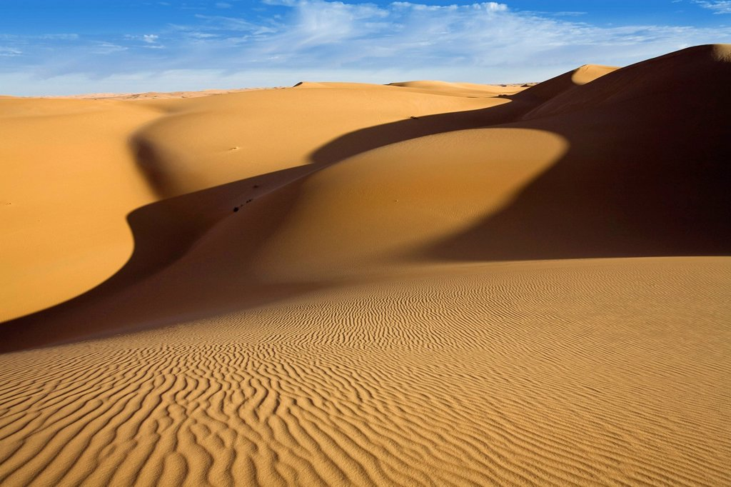 Stock Photo: 1848-669357 Sand dunes in the Libyan Desert, Libya, Africa
