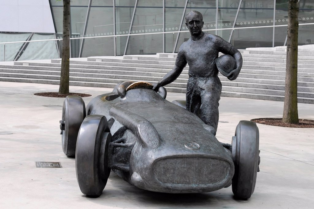 Stock Photo: 1848-669521 Sculpture, tribute to Juan Manuel Fangio, Mercedes_Benz W 196 R Silver Arrow, Mercedes Benz Museum, Stuttgart, Baden_Wuerttemberg, Germany, Europe