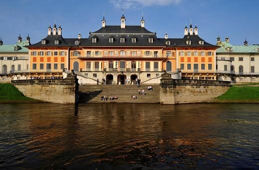 Wasserpalais, Water Palace, Schloss Pillnitz, Pillnitz Palais, near Dresden, Saxony, Germany, Europe : Stock Photo