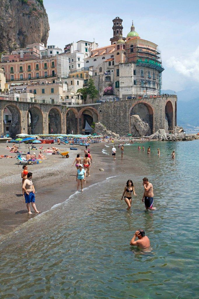 Stock Photo: 1848-669791 Village of Atrani with a small beach, Church of St. Mary Magdalene, Amalfi Coast, Unesco World Heritage site, province of Salerno, Gulf of Salerno, Campania region, Italy, Europe