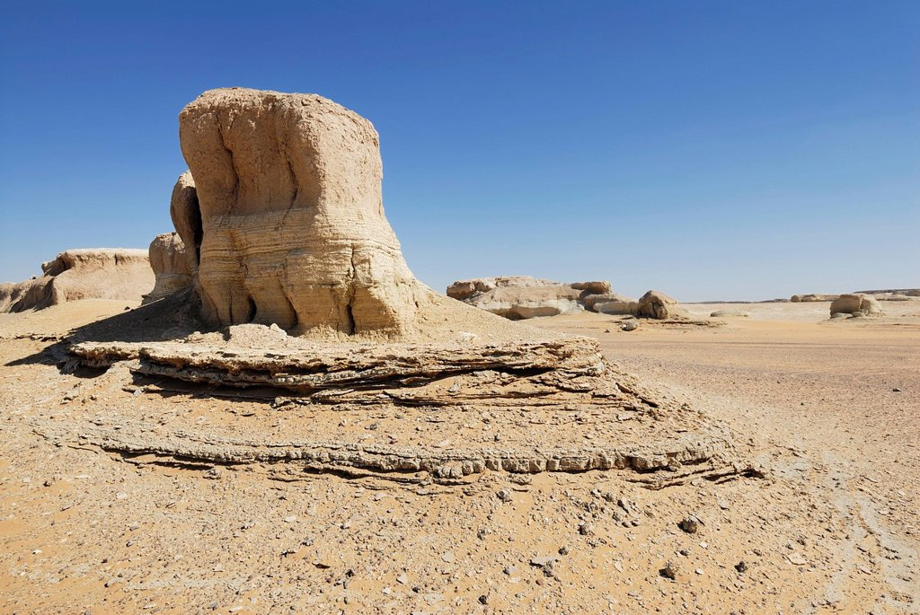 Stock Photo: 1848-669799 Rock formation, desert landscape between the Dakhla Oasis and the Kharga Oasis, Libyan Desert, also known as Western Desert, Sahara, Egypt, Africa