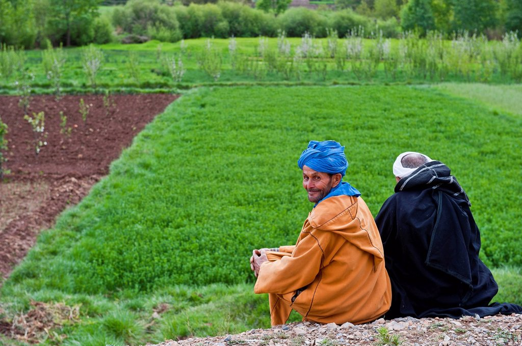 Stock Photo: 1848-669834 Two men wearing traditional Berber clothing, Djellabah robe and turban, sitting on the ground next to a field, Ait Bouguemez valley, Grand Atlas Mountains, Morocco, Africa