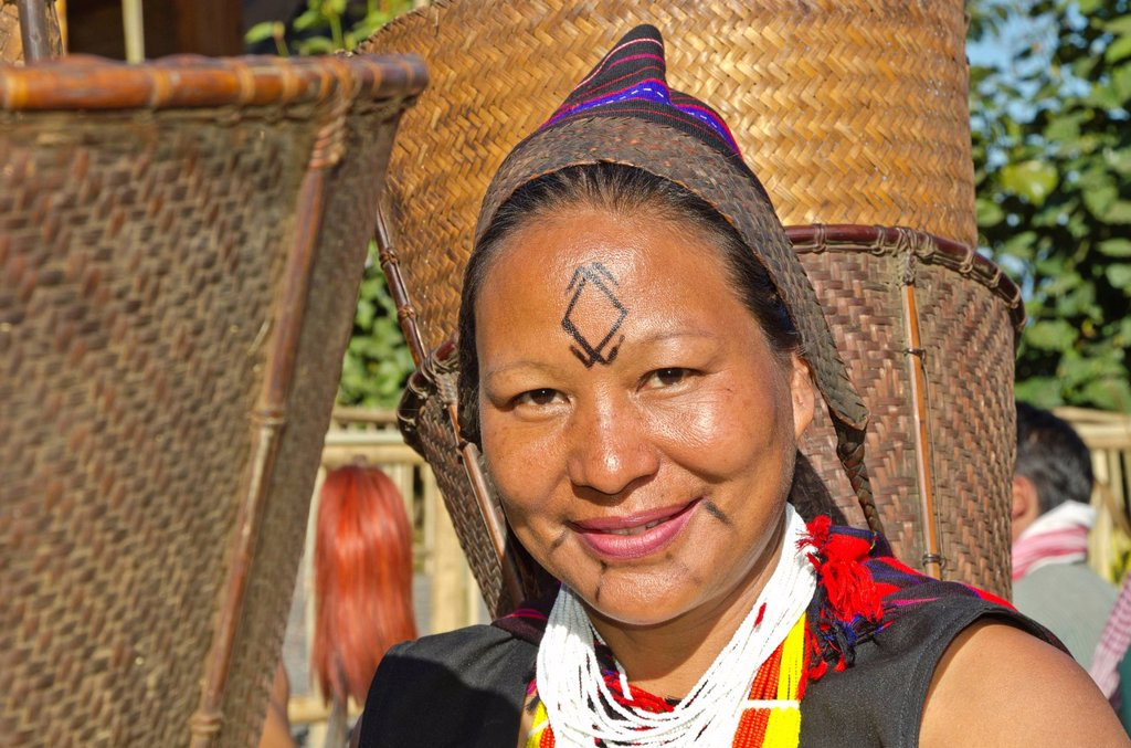 Stock Photo: 1848-669955 Woman in tribal dress at the annual Hornbill Festival in Kohima, India, Asia