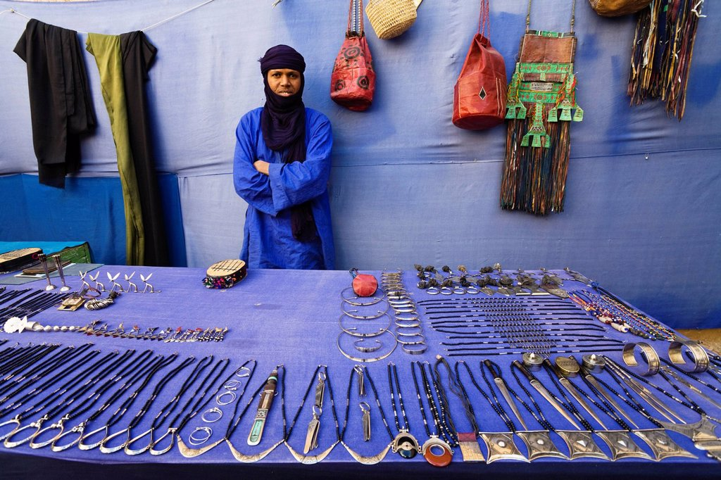 Stock Photo: 1848-670040 Tuareg man, trader in a souvenir shop in the old town of Ghat, Libya, North Africa, Africa