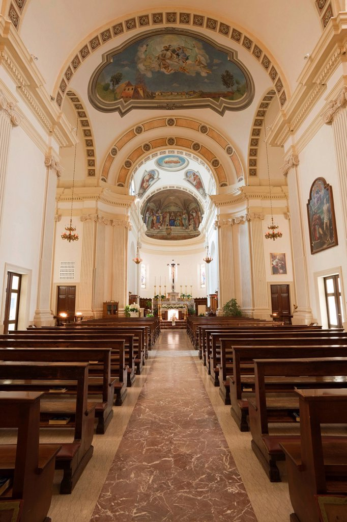 Interior view, Church of San Marino Vescovo, Peschiera, Veneto, Italy, Europe : Stock Photo