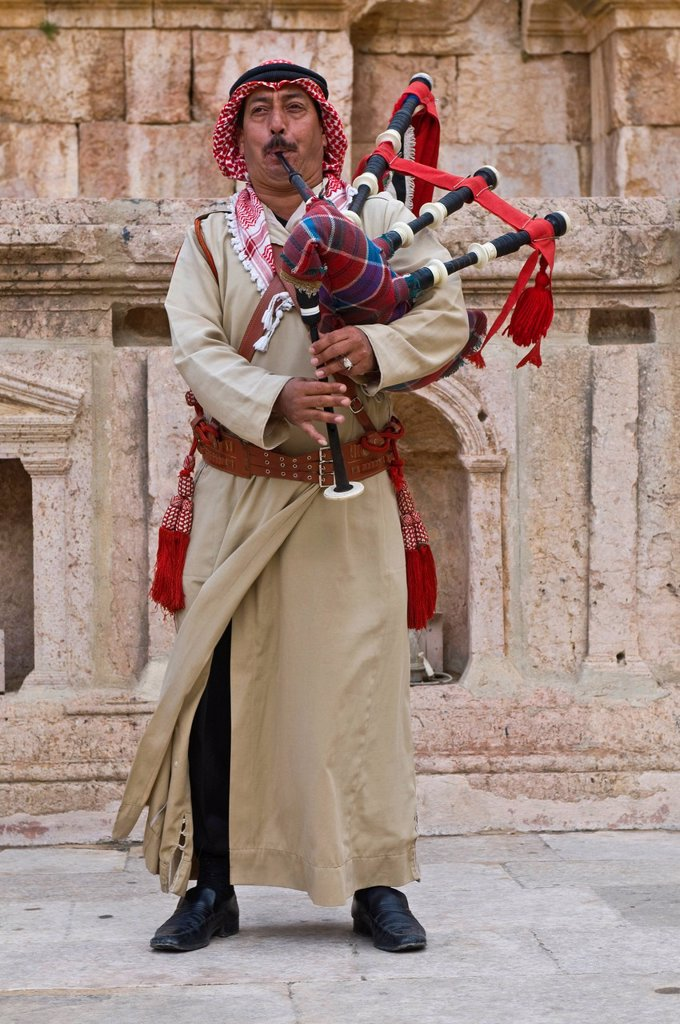 Local man with bagpipes, Gerasa, Jerash, Jordan, Middle East : Stock Photo
