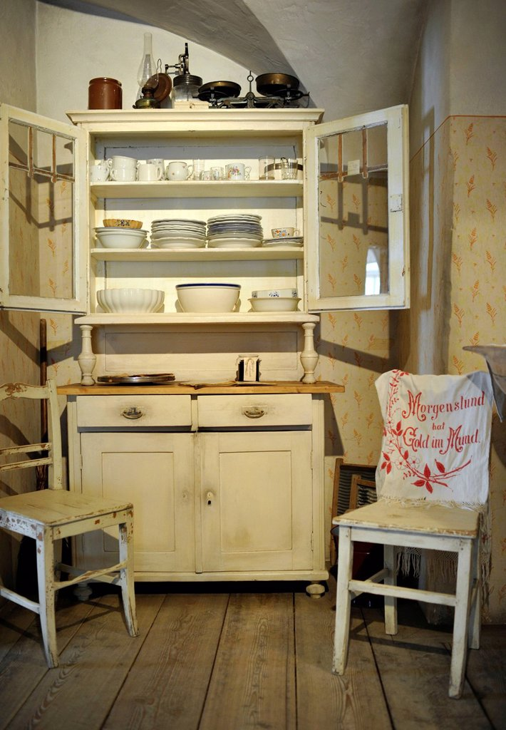 Stock Photo: 1848-670225 Antique kitchen cabinet, Museum House, Loisium World of Wine, Langenlois, Kamptal, UNESCO World Cultural Heritage Site in Wachau, Lower Austria, Austria, Europe