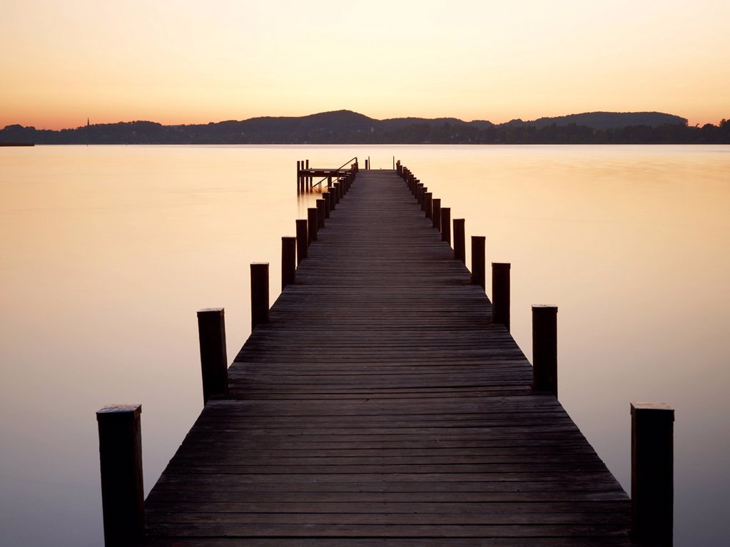 Stock Photo: 1848-670273 Pier in Lake Woerthsee at sunrise, Bavaria, Germany, Europe