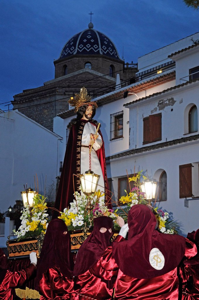 Stock Photo: 1848-670295 Christ figure, masked carriers in red hoods, Easter procession, Altea, Alicante, Spain, Europe