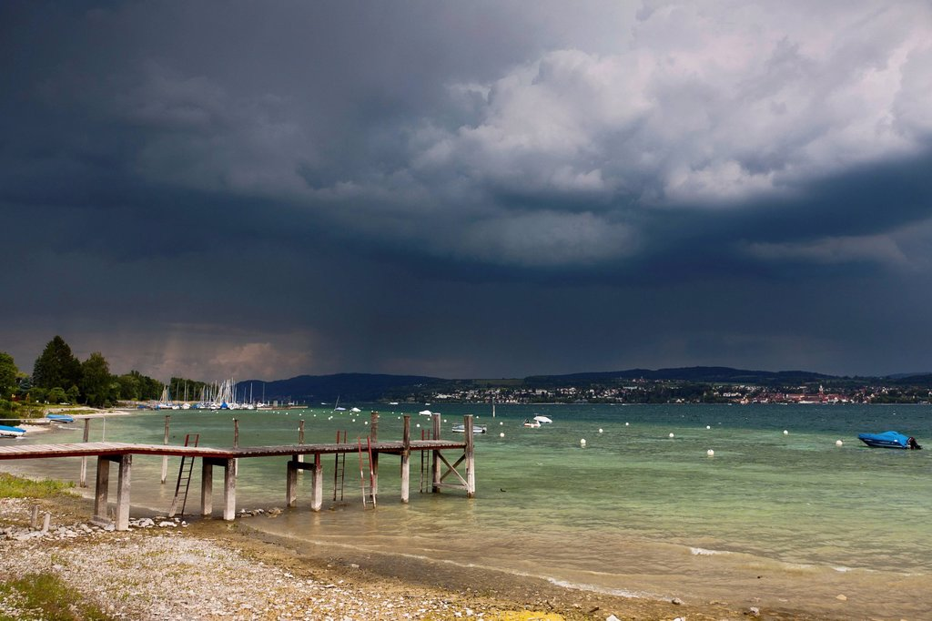 Stock Photo: 1848-670513 Storm cloud over Lake Constance with a view towards Ueberlingen, Dingelsdorf, Konstanz district, Baden_Wuerttemberg, Germany, Europe, PublicGround