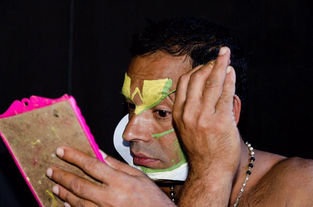 Stock Photo: 1848-670578 The make_up of the Kathakali character Jayantha is being applied, Varkala, Kerala, India, Asia