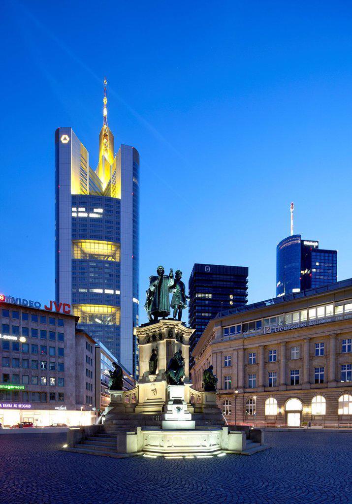 Stock Photo: 1848-670655 Commerzbank Tower, Johannes Gutenberg monument, Goetheplatz square, Frankfurt am Main, Hesse, Germany, Europe, PublicGround