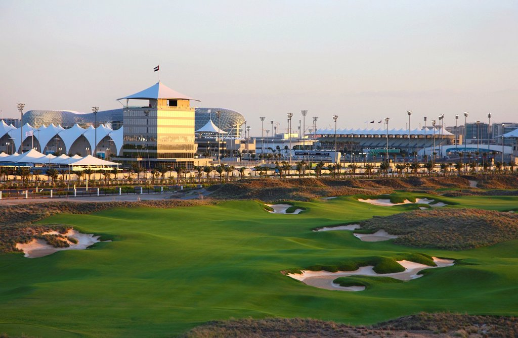 Stock Photo: 1848-670735 Yas_Links golf course, Yas Island, typical 18_hole links course next to the Formula 1 circuit and Ferrari World Abu Dhabi, United Arab Emirates, Middle East, Asia