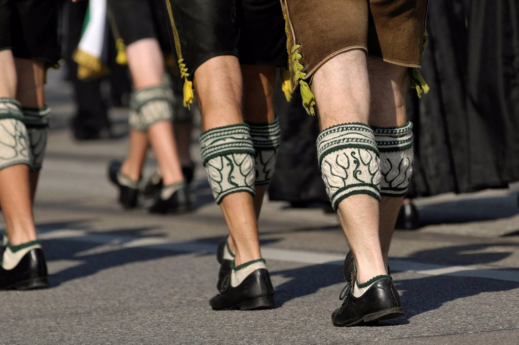 Stock Photo: 1848-670741 Trachtler with leather pants and alpine leg warmers, Traditional Costume and Riflemen´s parade, opening of the Oktoberfest festival 2010, Munich, Upper Bavaria, Bavaria, Germany, Europe