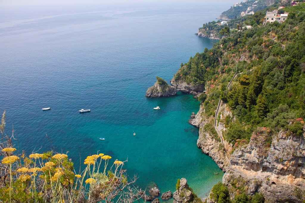 Stock Photo: 1848-671089 Coastal landscape as seen from the famous Amalfi scenic road, highway SS163, Amalfi Coast, Unesco World Heritage site, province of Salerno, Gulf of Salerno, Campania region, Italy, Europe