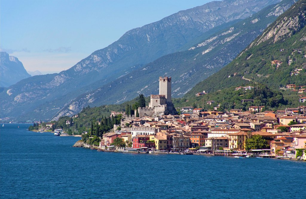 View from Lake Garda on the old town with the Castello Scaligero Scaliger castle, Malcesine, Lake Garda, Verona province, Veneto, Italy, Europe : Stock Photo