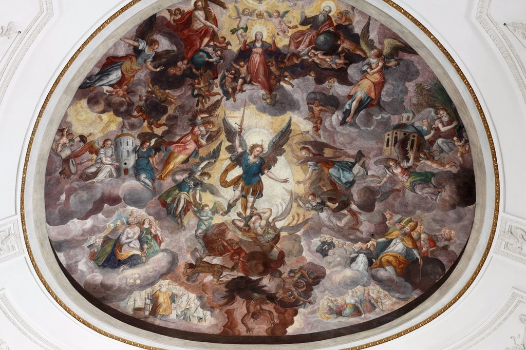 Fresco ´´Mary surrounded by the seven angels´´, by Elias Greuter the Elder, parish Church of the Assumption, Weilheim, Pfaffenwinkel, Upper Bavaria, Bavaria, Germany, Europe : Stock Photo