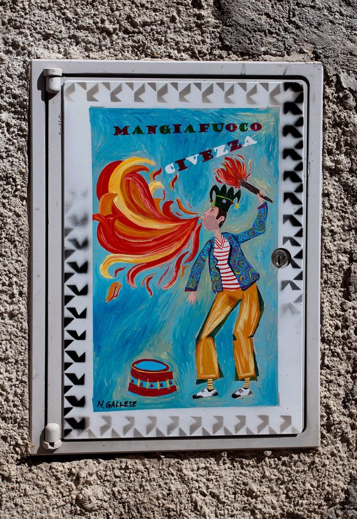 Stock Photo: 1848-672386 Fire eater, typical tile image on a house of the artists´ village Civezza, Imperia province, Riviera di Ponente, Liguria, Italy, Mediterranean, Europe