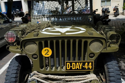 D_Day landing jeep, Normandy, France, Europe : Stock Photo