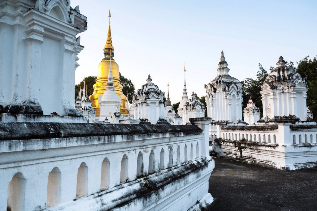 Stock Photo: 1848-672583 Golden pagoda or chedi, Wat Suan Dok, Chiang Mai, northern Thailand, Thailand, Asia