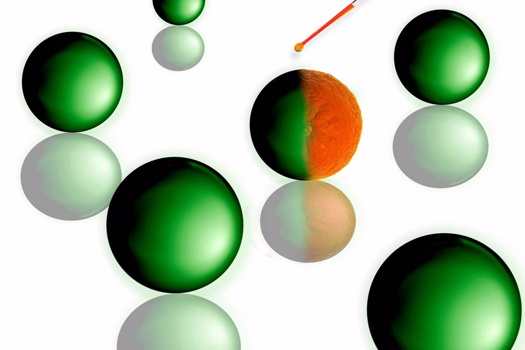 Stock Photo: 1848-672703 Droplet from a pipette hitting sphere and turning it into an orange