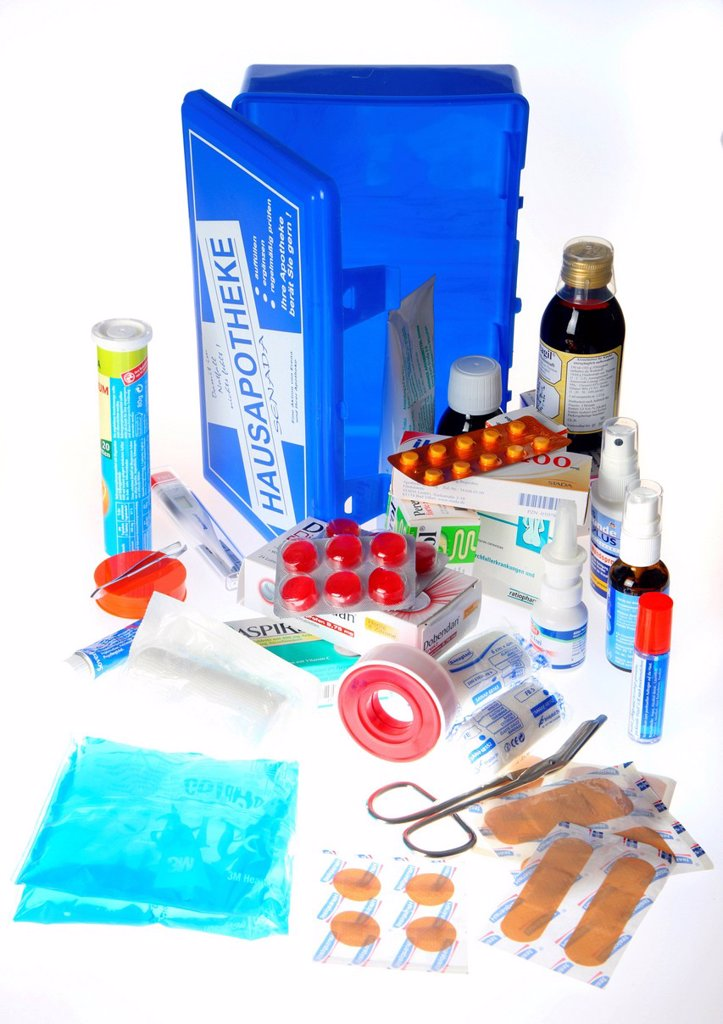 Home medicine chest with a selection of medicines and dressing material : Stock Photo
