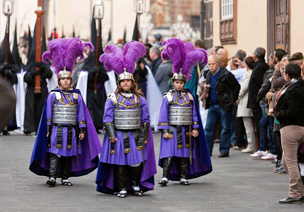 Children in historical costumes during the Good Friday procession, Semana Santa, Holy Week, La Laguna, northeastern Tenerife, Tenerife, Canary Islands, Spain, Europe : Stock Photo