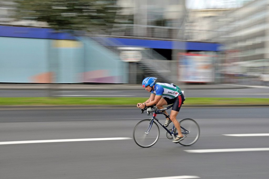 Stock Photo: 1848-673411 Cyclist, Cologne Triathlon Weekend 2010, Cologne, North Rhine_Westphalia, Germany, Europe