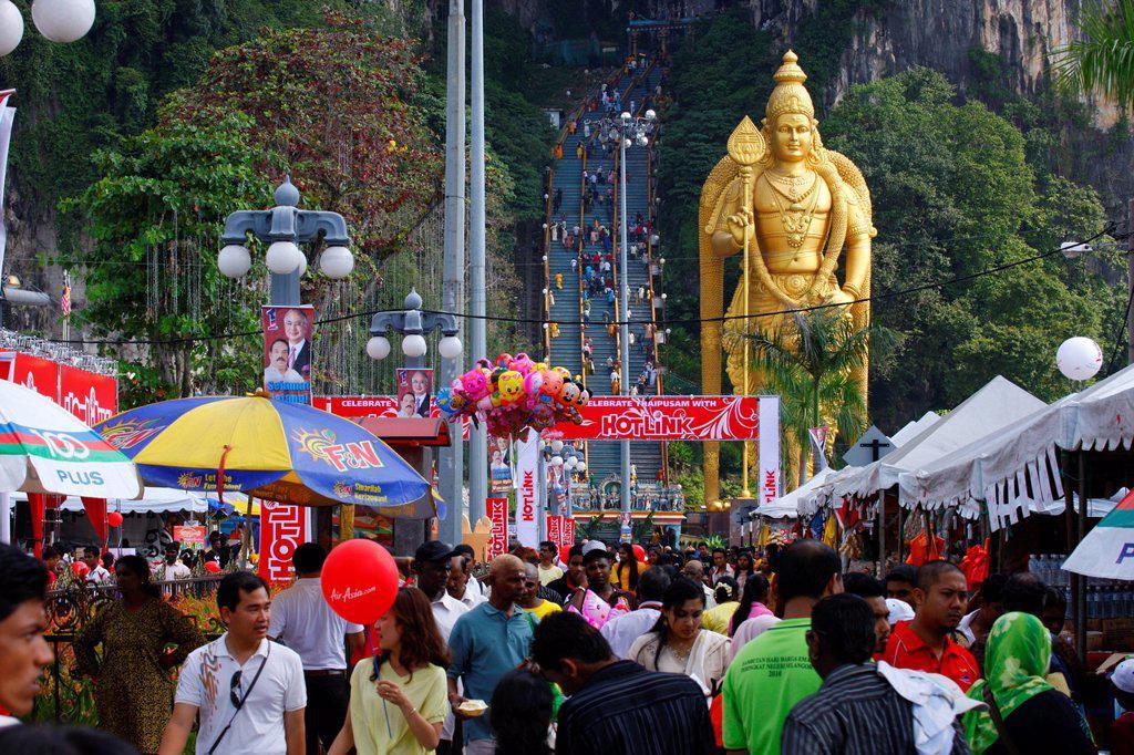 Stock Photo: 1848-673530 Statue of the god Murugan, Hindu festival Thaipusam, Batu Caves limestone caves and temples, Kuala Lumpur, Malaysia, Southeast Asia, Asia