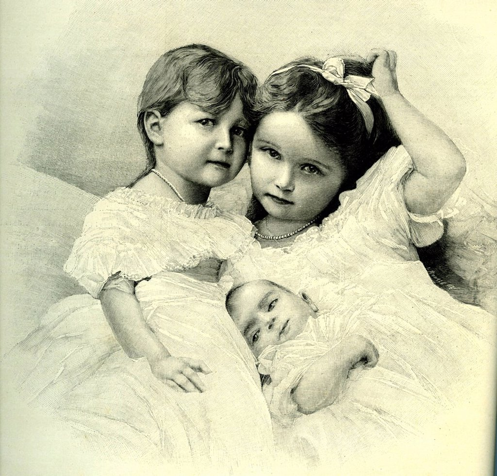 Stock Photo: 1848-673554 Olga, Tatiana and Maria Romanova, daughters of Nicholas II, tsar of Russia, historical illustration after a photograph by Levitzki, 1910