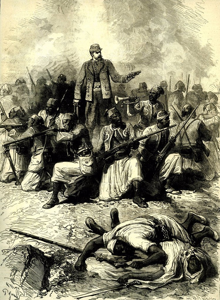 Stock Photo: 1848-673555 Kreider, battle, French Algeria, Africa, in 1881, historical illustration, 1886